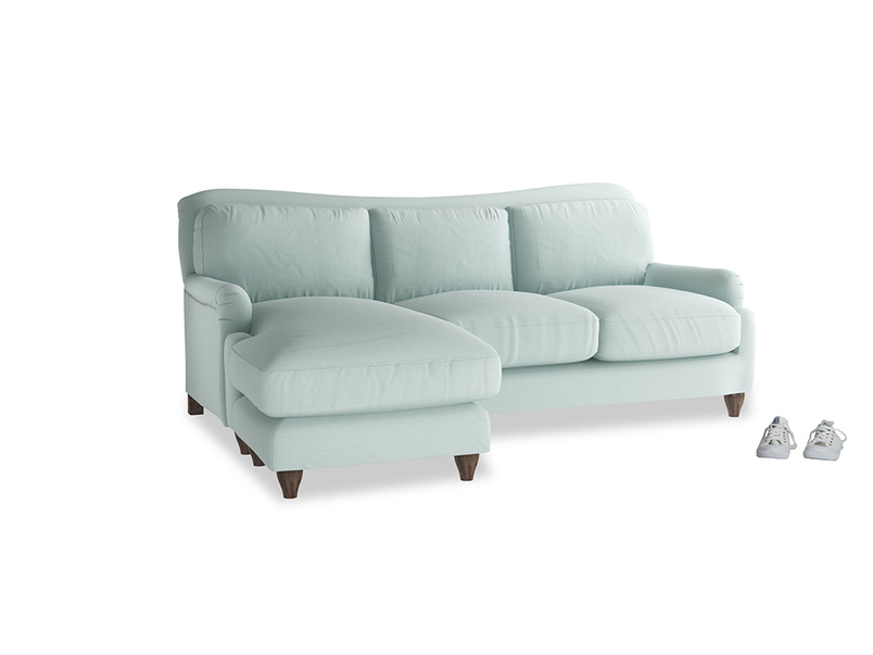 Large left hand Pavlova Chaise Sofa in Gull's Egg Brushed Cotton