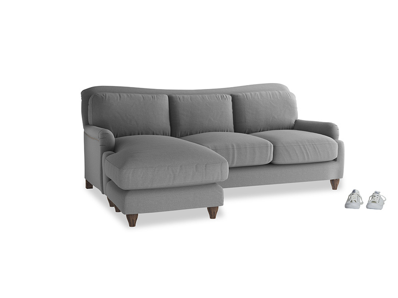Large left hand Pavlova Chaise Sofa in Gun Metal brushed cotton