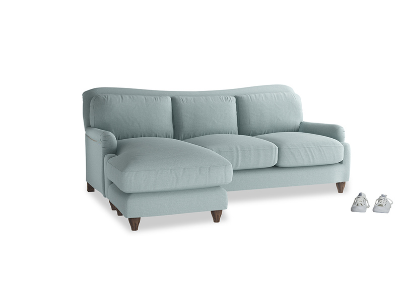 Large left hand Pavlova Chaise Sofa in Smoke blue brushed cotton