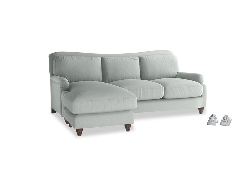 Large left hand Pavlova Chaise Sofa in French blue brushed cotton