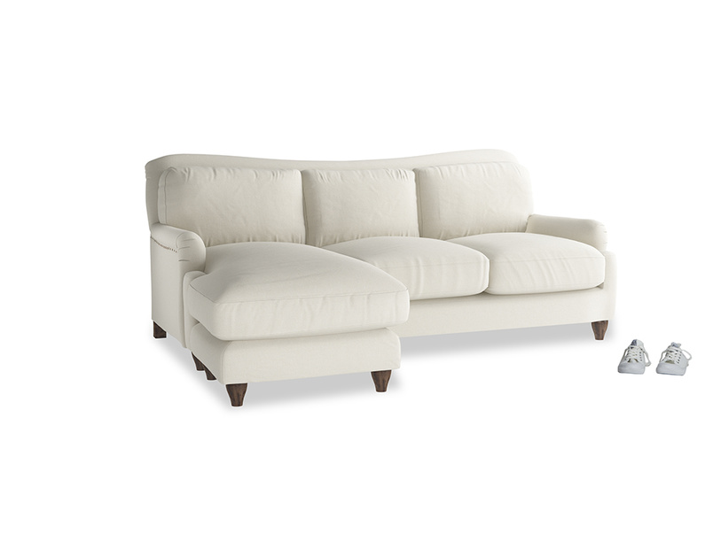 Large left hand Pavlova Chaise Sofa in Oat brushed cotton