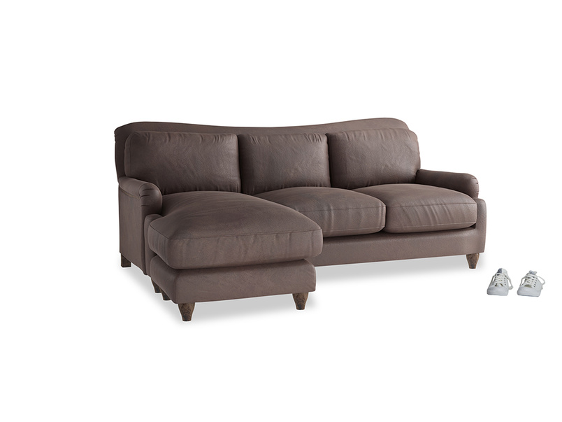 Large left hand Pavlova Chaise Sofa in Dark Chocolate beaten leather