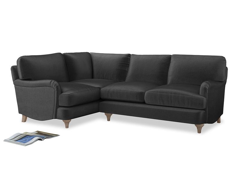 Large Left Hand Jonesy Corner Sofa in Scuttle grey vintage velvet