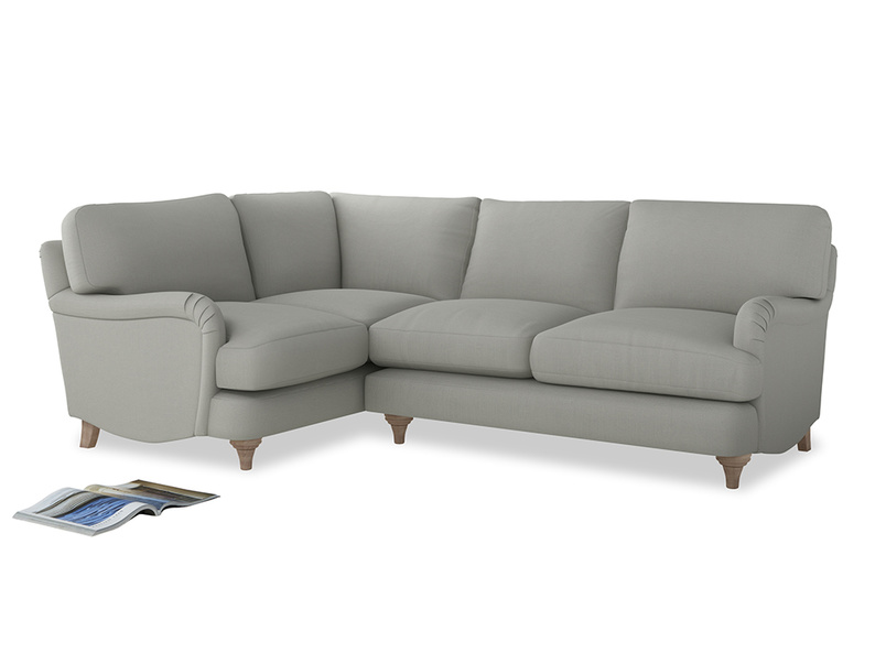 Large Left Hand Jonesy Corner Sofa in Mineral grey clever linen
