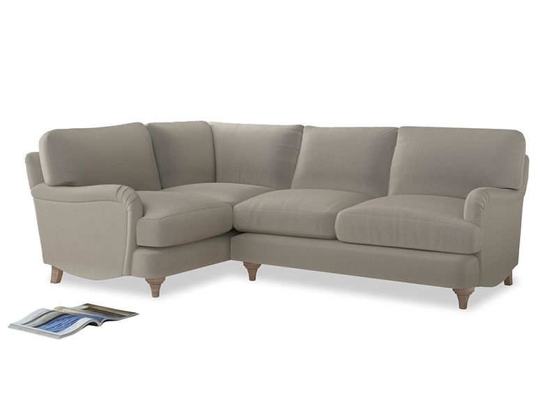 Large Left Hand Jonesy Corner Sofa in Smoky Grey clever velvet