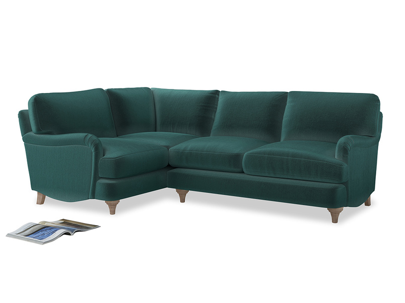Large Left Hand Jonesy Corner Sofa in Real Teal clever velvet