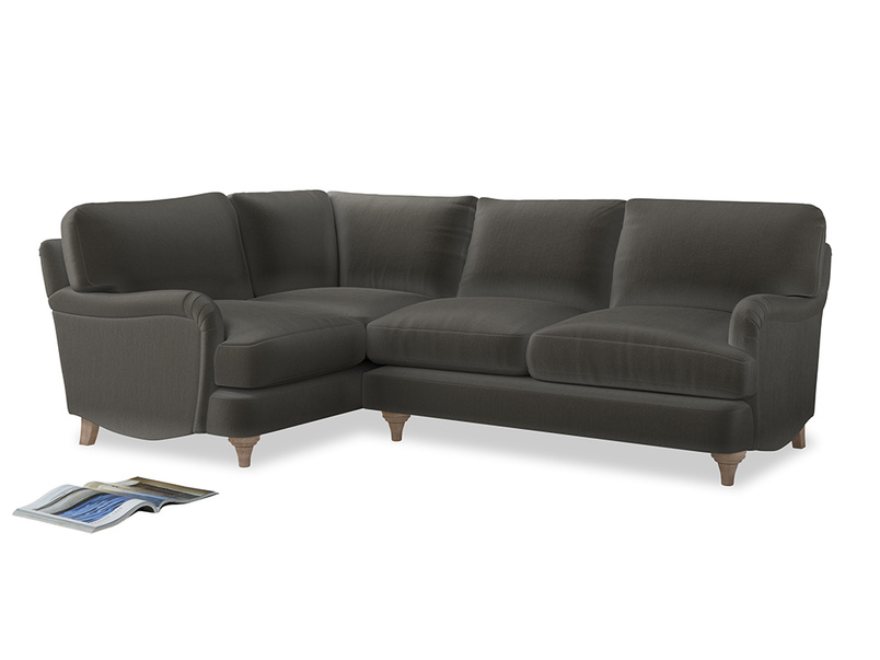 Large Left Hand Jonesy Corner Sofa in Slate clever velvet
