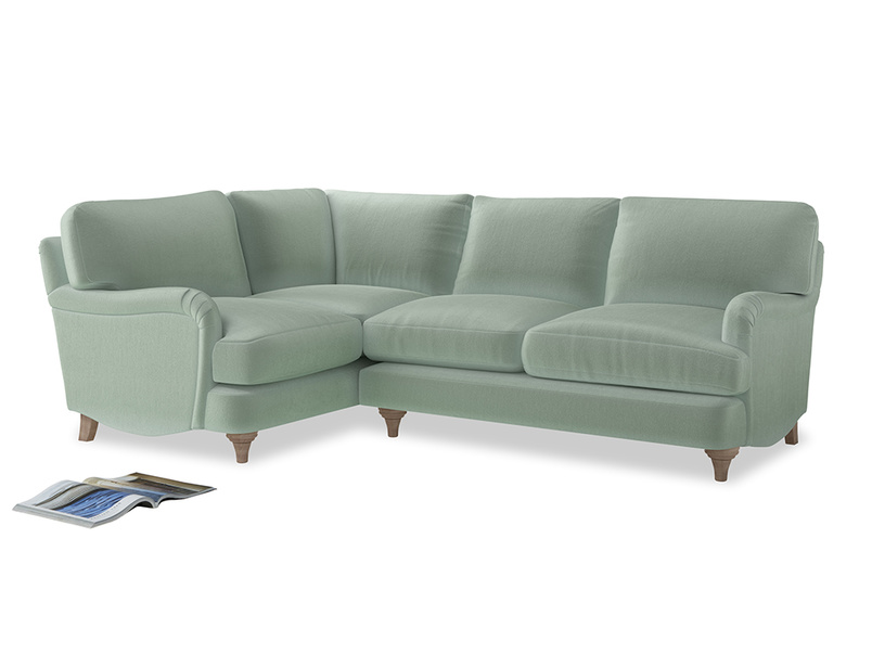 Large Left Hand Jonesy Corner Sofa in Mint clever velvet