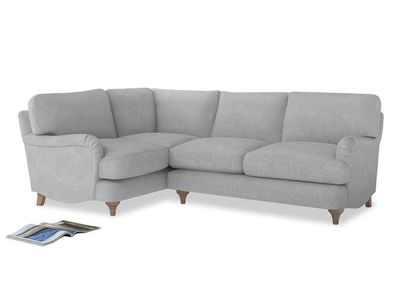 Large Left Hand Jonesy Corner Sofa in Pebble vintage linen