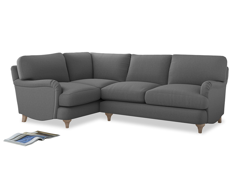 Large Left Hand Jonesy Corner Sofa in Gun Metal brushed cotton