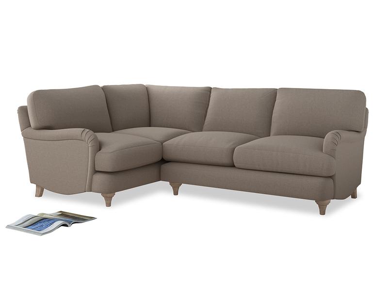 Large Left Hand Jonesy Corner Sofa in Driftwood brushed cotton