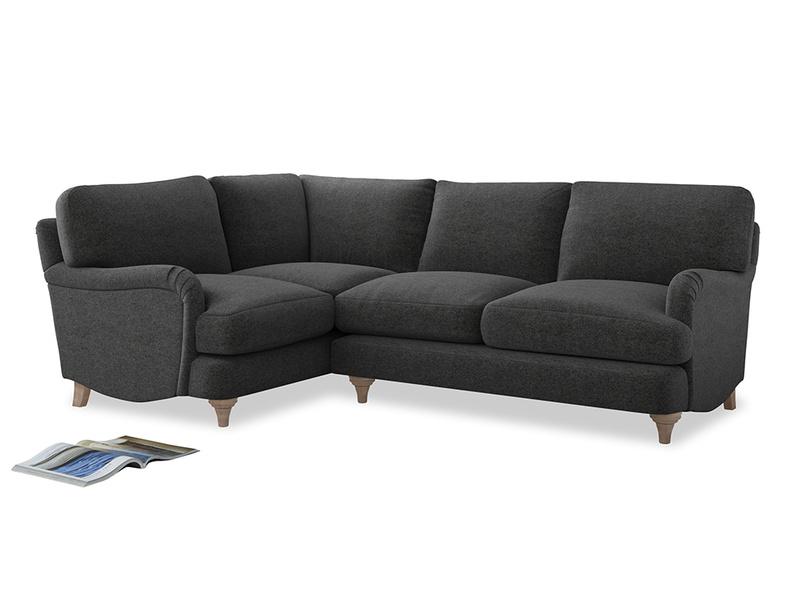 Large Left Hand Jonesy Corner Sofa in Shadow Grey wool