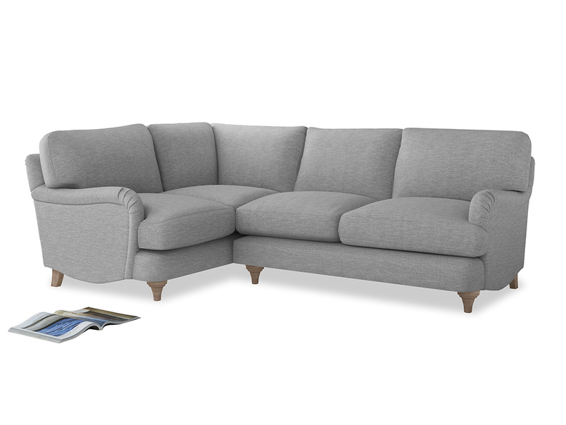 Large Left Hand Jonesy Corner Sofa in Mist cotton mix