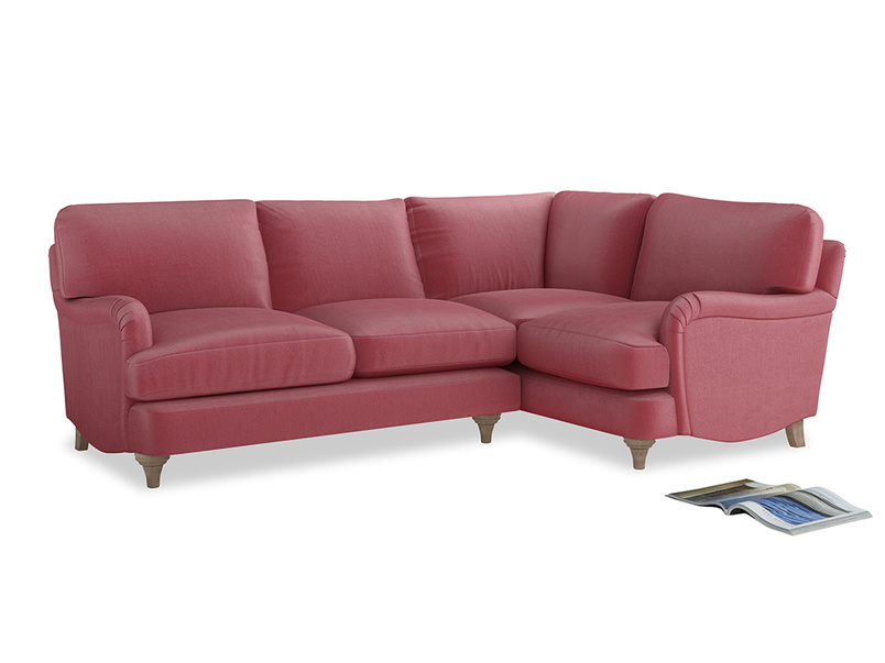 Large Right Hand Jonesy Corner Sofa in Blushed pink vintage velvet
