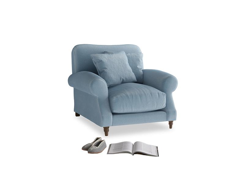 Crumpet Armchair in Chalky blue vintage velvet