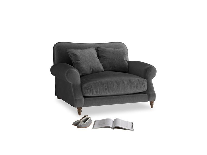 Crumpet Love seat in Scuttle grey vintage velvet