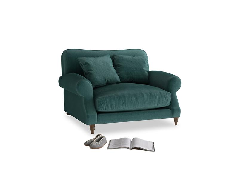Crumpet Love seat in Timeless teal vintage velvet