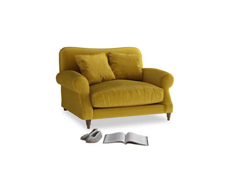 Crumpet Love seat in Burnt yellow vintage velvet