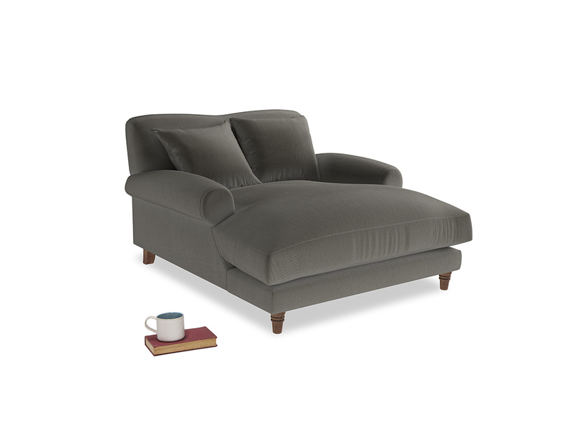 Crumpet Love Seat Chaise in Slate clever velvet