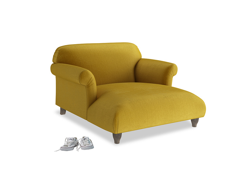 Soufflé Love Seat Chaise in Burnt yellow vintage velvet