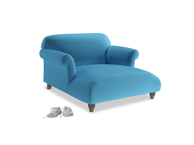 Soufflé Love Seat Chaise in Teal Blue plush velvet