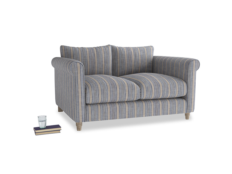 Small Weekender Sofa in Brittany Blue french stripe