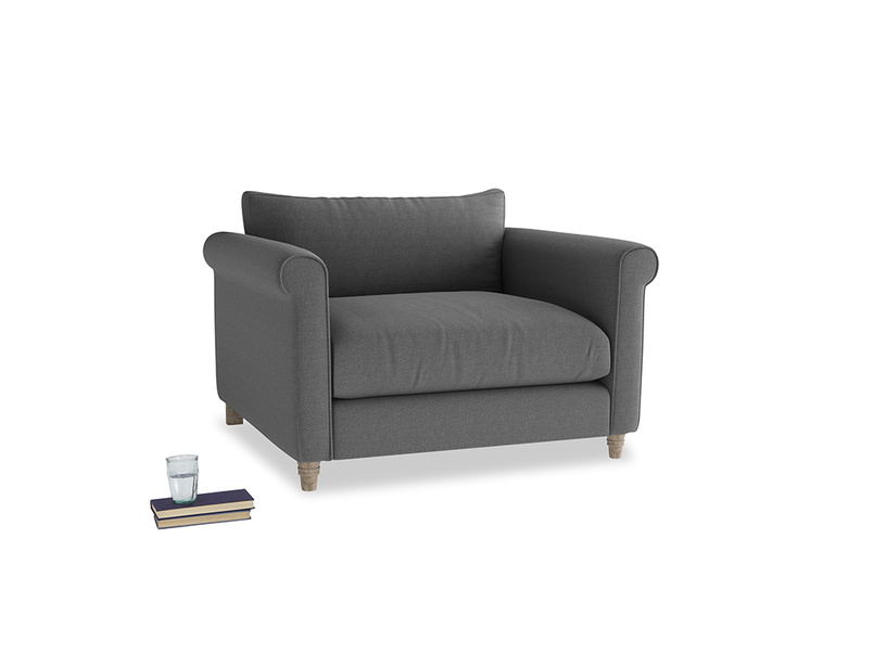 Weekender Love seat in Ash washed cotton linen