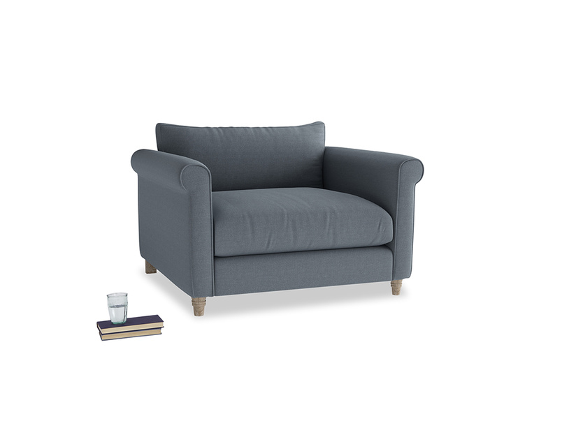 Weekender Love seat in Blue Storm washed cotton linen