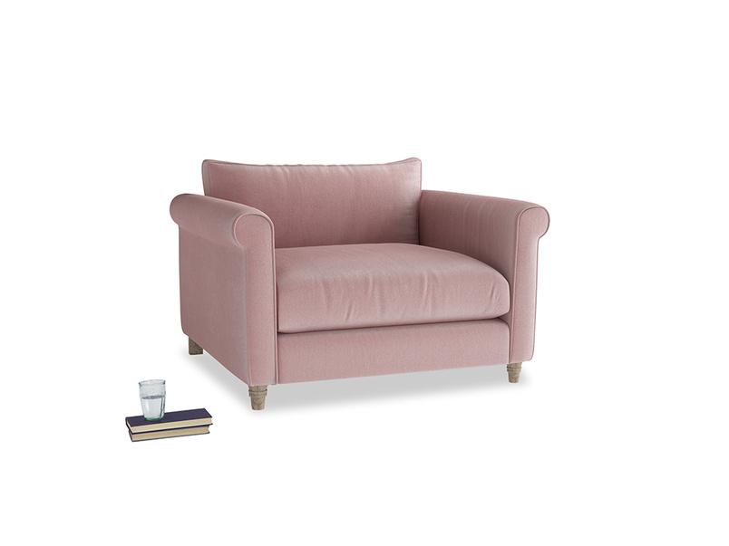 Weekender Love seat in Chalky Pink vintage velvet