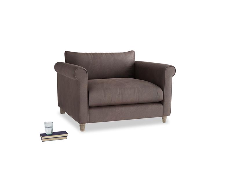 Weekender Love seat in Dark Chocolate beaten leather