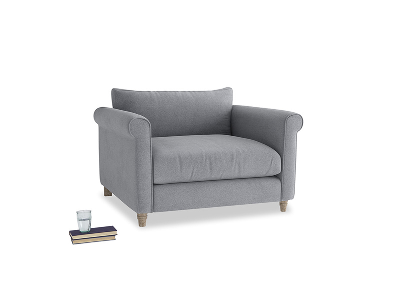 Weekender Love seat in Dove grey wool
