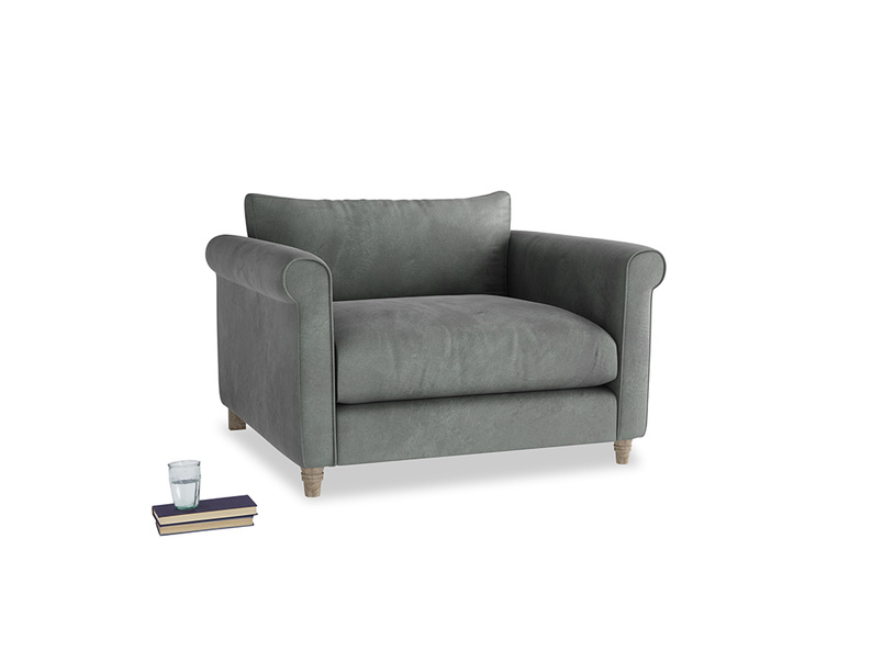 Weekender Love seat in Faded Charcoal beaten leather