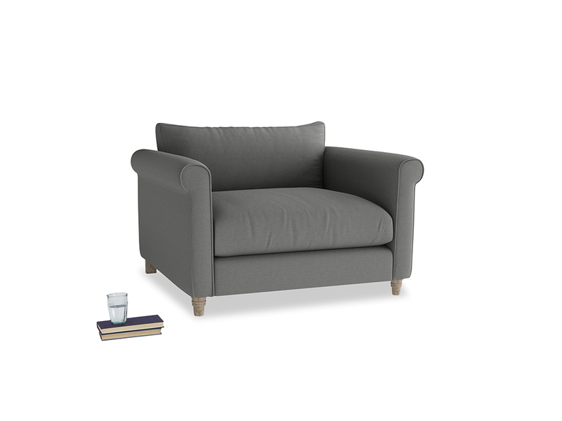 Weekender Love seat in French Grey brushed cotton