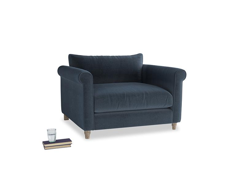 Weekender Love seat in Liquorice Blue clever velvet