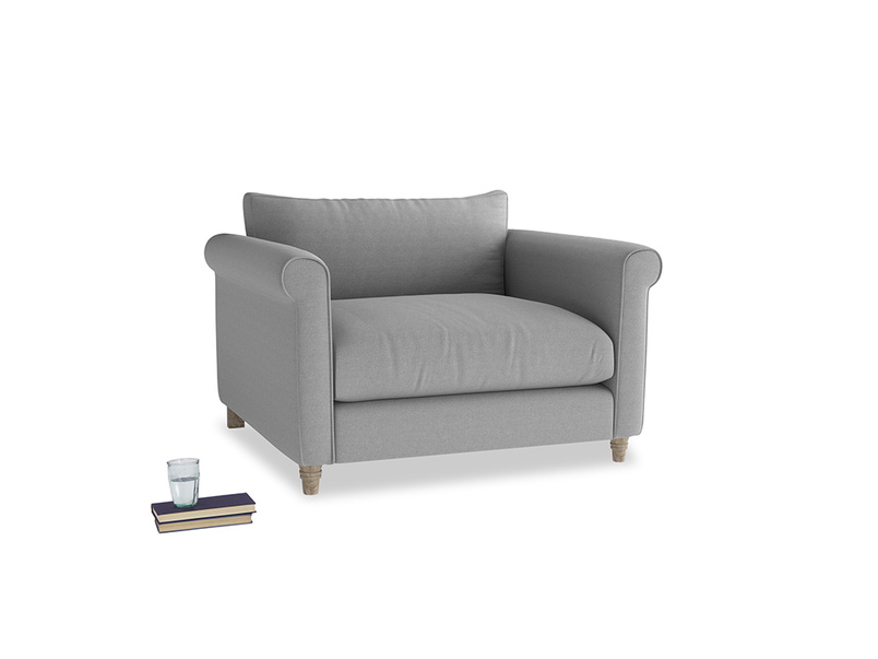 Weekender Love seat in Magnesium washed cotton linen