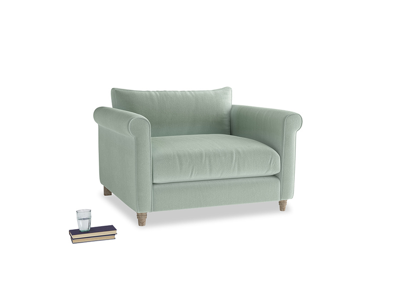 Weekender Love seat in Mint clever velvet