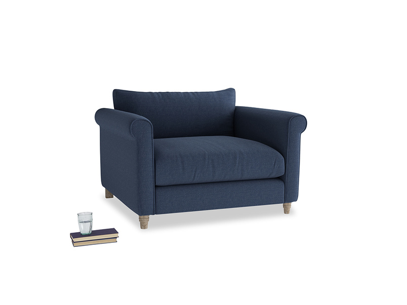 Weekender Love seat in Navy blue brushed cotton