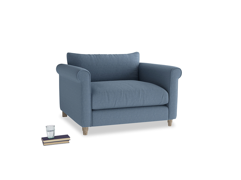 Weekender Love seat in Nordic blue brushed cotton
