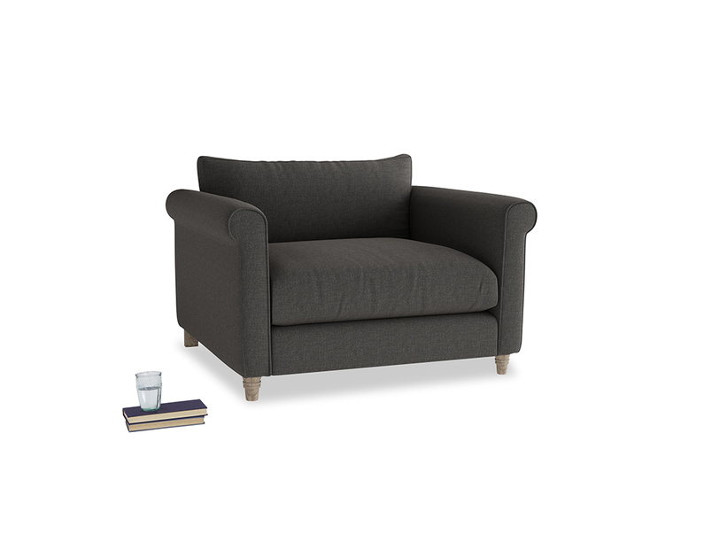 Weekender Love seat in Old Charcoal brushed cotton