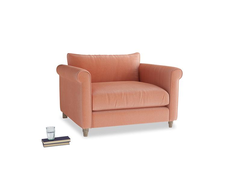 Weekender Love seat in Old rose vintage velvet