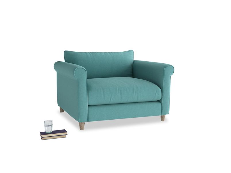Weekender Love seat in Peacock brushed cotton
