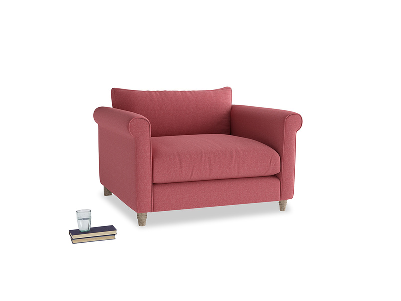 Weekender Love seat in Raspberry brushed cotton