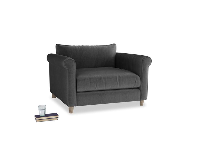 Weekender Love seat in Scuttle grey vintage velvet