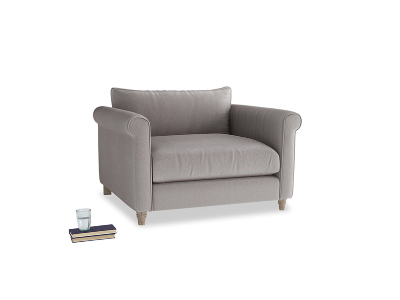 Weekender Love seat in Soothing grey vintage velvet