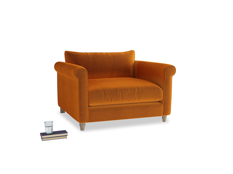 Weekender Love seat in Spiced Orange clever velvet