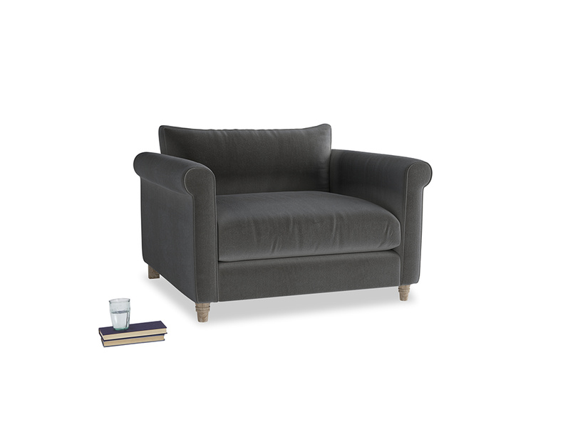 Weekender Love seat in Steel clever velvet