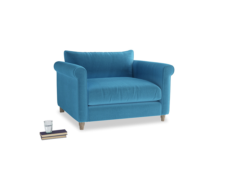 Weekender Love seat in Teal Blue plush velvet