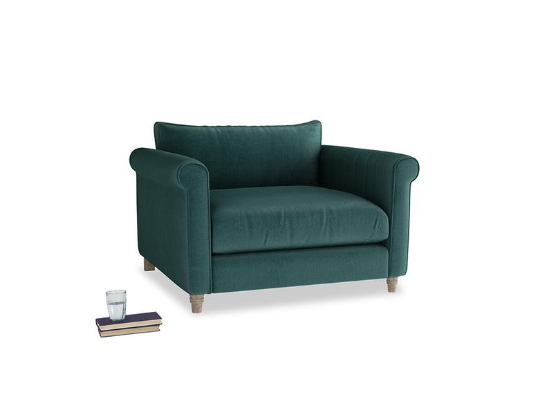 Weekender Love seat in Timeless teal vintage velvet