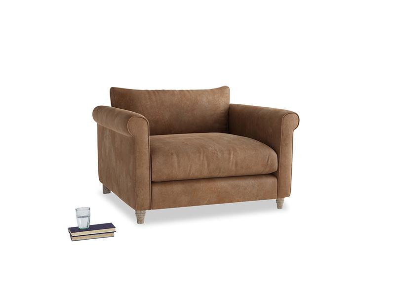 Weekender Love seat in Walnut beaten leather