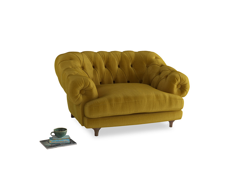 Bagsie Love Seat in Burnt yellow vintage velvet
